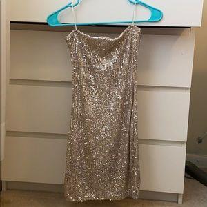 Gold tube top dress